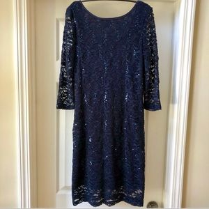 ONYX Nite navy lace/sequin party dress. spandex/6
